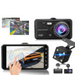 New 4 Inch 1080P Touch Screen Dual Lens Front + Rear Car Dash Cam DVR Camera Recorder