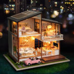 New Cuteroom DIY Doll House A-080-B Slow Time Loft Villa Miniature Furnish With LED Light Music Movement Cover Gift Decor Toys