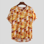 New Mens Summer Maple Leaf Printing Breathable Shirts