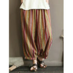 New Vintage Stripe Elastic Waist Women Harem Baggy Pants