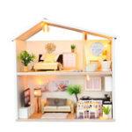 New DIY Miniature Kit Wooden Toy Model Building Doll House Modern House Kid Gift LED Light