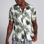 New Men Hawaiian Leaf Printed Cotton Short Sleeve Loose Shirts