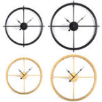 New 50CM/60CM Double Layer Wall Clock Creative Living Room Round Vintage Wrought Iron Wall Clock