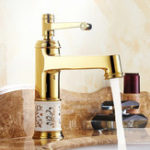 New European Classic Golden Bathroom Basin Faucet Hot & Cold Water Mixer Tap Single Handle Copper Deck Mount