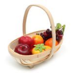 New 29x10x27cm Handmade Wood Chip Woven Boat Handle Storage Baskets Household Sussex Trug