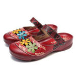 New SOCOFY Handmade Floral Flat Leather Sandals