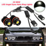 New 80W LED Angel Eyes Lights Halo Ring Bulbs Lamps CANBUS Error Free White 2PCS for BMW E39 E60 E53
