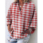 New Women Casual Pocket Long Sleeve Plaid Blouse