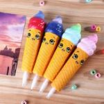 New 4PCS Wholesale Squishy Pen Cap Smile Face Ice Cream Cone Slow Rising Jumbo With Pen Stress Relief Toys