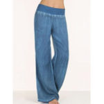 New S-5XL Women Elastic Waist Wide Leg Pants Flare Trousers
