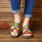 New SOCOFY Handmade Printing Flowers Leather Wedge Sandals