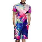 New Fashion Street Gradient Colorful Funny Printing Rompers Set