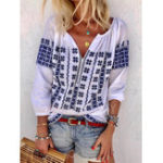 New Women Bohemian Embroidery V-neck 3/4 Sleeve Loose Blouse