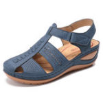 New LOSTISY Stitching Hollow Out Hook Loop Light Wedge Sandals