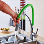 New Kitchen Basin Sink Faucet 360° Rotation Pull Out Sprayer Hot Cold Mixer Tap Single Handle Brass Finish Deck Mount