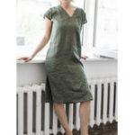 New Pure Color V Neck Short Sleeve Split Hem Dress