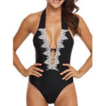New One Pieces Jacquard Backless Swimwear