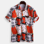 New Mens Summer Loose Fashion Pattern Printing Shirts