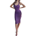 New Sequined V Neck Bodycon Cocktail Party Formal Midi Dress