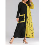 New Women Casual Patchwork Long Sleeve Maxi Dress with Pockets