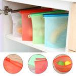New 1000ml Silicone Storage Bag Food Grade Vacuum Ziplock Zipper Food Container Food Preservation