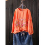 New Women Floral Embroidered Lantern Long Sleeve Tops
