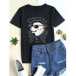 New Cartoon Dog Print Round Neck Short Sleeve Cotton T-shirts