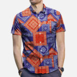 New Mens Ethnic Style Pattern Printing Short Sleeve Stylish Shir