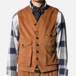 New Mens Retro Corduroy Vest Multi Pockets Sleeveless Coat Tops