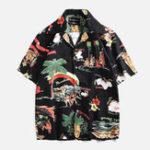 New Men Island Printed Short Sleeve Hawaiian Shirts
