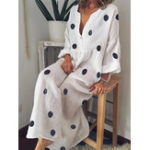 New Plus Size Bohemian V-neck Polka Dots Women Maxi Dress