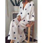 New Plus Size Bohemian V-neck Polka Dots Women Maxi Dress