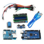New Mega 2560 R3 For Arduino Kit + HC-SR04 + Breadboard Cable + Relay Module + W5100 UNO Shield + LCD 1602 Keypad Shield