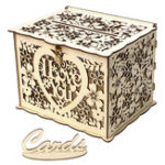 New DIY Wedding Gift Card Box Wooden Money Box with Lock Beautiful Decor Supplies for Birthday Party