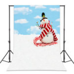 New 5x7FT Vinyl Blue Sky Snowman Photography Backdrop Background Studio Prop