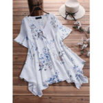 New Women Loose Floral Print Irregular Hem Short Sleeve Blouse