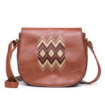 New Women National PU Leather Embroidery Crossbody Bag