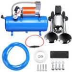 New 2PCS Chrome Trumpet Vehicle Air Horn 12V/24V Compressor Tubing 120 dB Train 120 PSI Kit 6L for Car Truck Campers