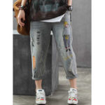 New Women Cartoon Embroidery Jeans