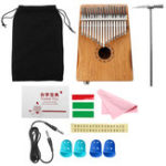 New 17 Keys EQ Mahogany Kalimba Thumb Finger Piano with Bag Set