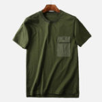 New Mens Chest Pocket Cotton Crew Neck Casual T-Shirts