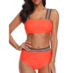 New Ladies Tube Top Strap Mid Waist Tight Bikini