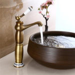 New European Antique Faucet Full Copper Drawing Bathroom Basin Faucet Single Hole Mixer Tap