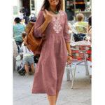 New Women Casual V-Neck Cotton Linen Half Sleeve Dress