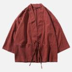 New Mens Vintage Cotton Loose Big Pockets Kimono