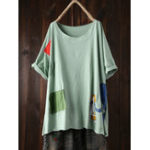 New Cartoon Print Patchwork Short Sleeve Women Plus Size T-shirt