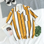 New Mens Contrast Color Stripe Summer Holiday Comfy Trendy Shirt