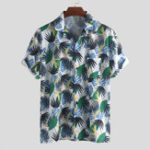 New ChArmkpR Men Tropical Plants Printed Hawaiian Shirts