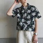 New Men Floral Printed Turn Down Collar Vintage Shirts