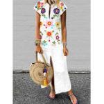 New Women Bohemian Floral Print V-neck Short Sleeve Dress